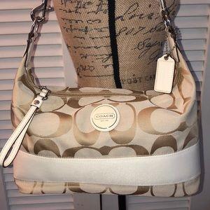 Coach White signature stripe shoulder bag